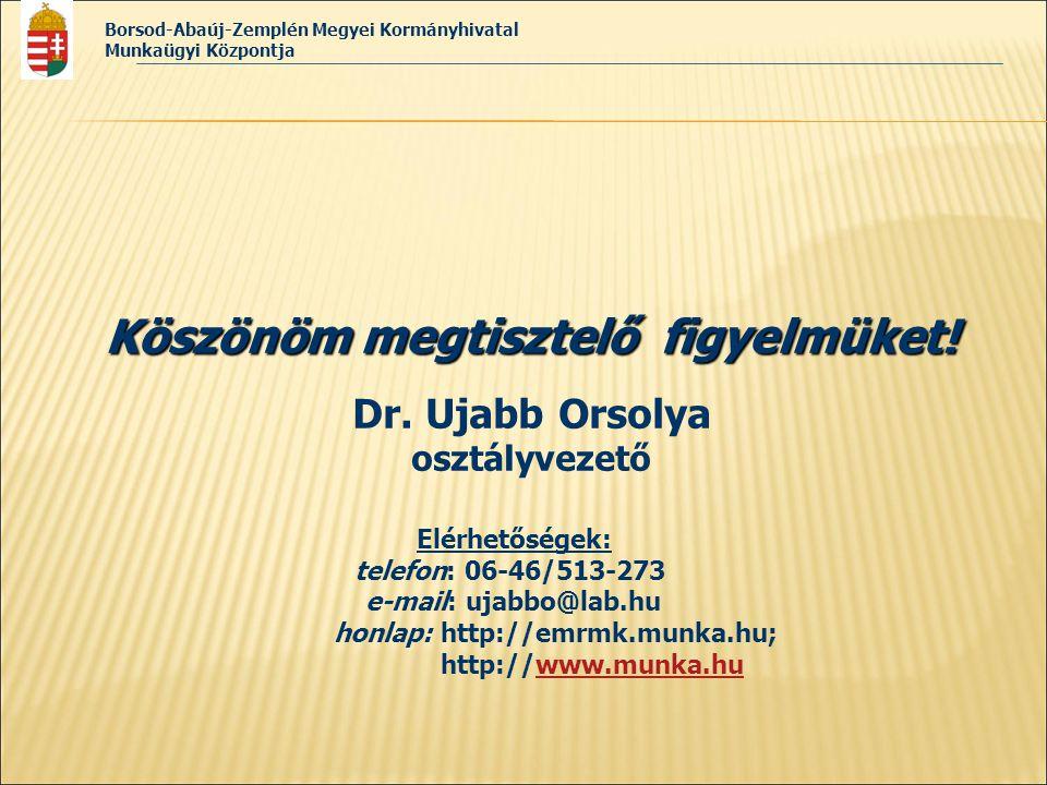 Borsod-Abaúj-Zemplén Megyei Kormányhivatal Munkaügyi Központja Köszönöm megtisztelő figyelmüket! Dr. Ujabb Orsolya osztályvezető Elérhetőségek: telefo