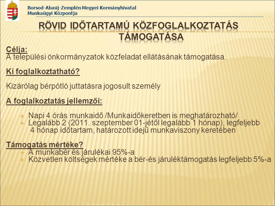 Borsod-Abaúj-Zemplén Megyei Kormányhivatal Munkaügyi Központja Célja: A települési önkormányzatok közfeladat ellátásának támogatása. Ki foglalkoztatha