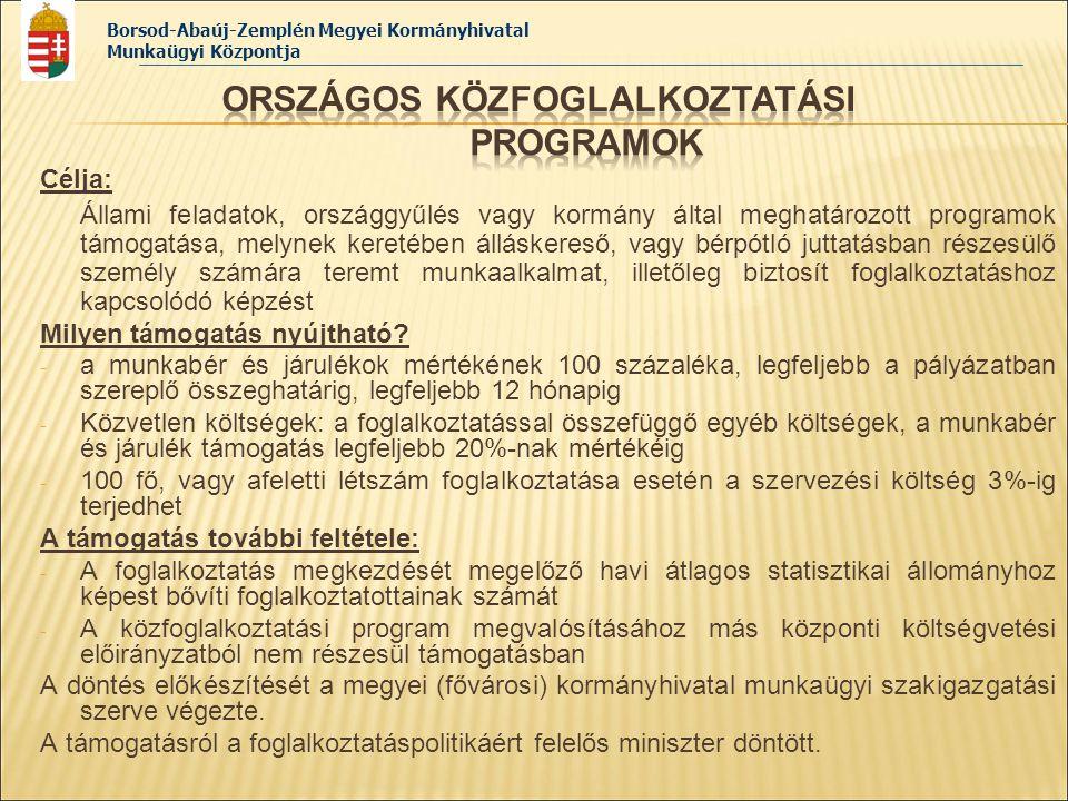 Borsod-Abaúj-Zemplén Megyei Kormányhivatal Munkaügyi Központja Célja: Állami feladatok, országgyűlés vagy kormány által meghatározott programok támoga