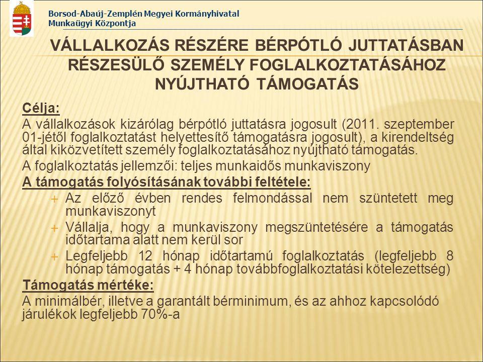 Borsod-Abaúj-Zemplén Megyei Kormányhivatal Munkaügyi Központja Számok tükrében Közfoglalkoztatás típusa Felhasználható keret Érintett létszám (2011.