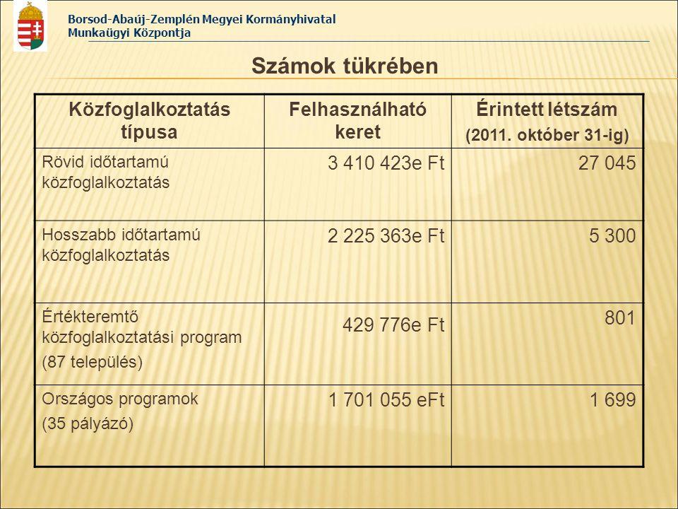 Borsod-Abaúj-Zemplén Megyei Kormányhivatal Munkaügyi Központja Számok tükrében Közfoglalkoztatás típusa Felhasználható keret Érintett létszám (2011. o