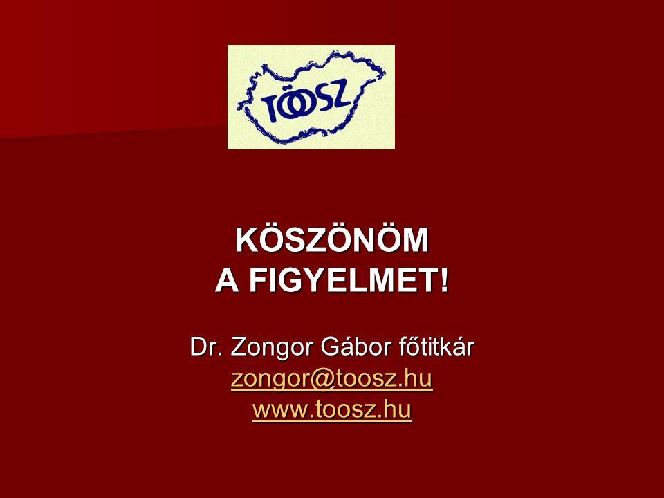 KÖSZÖNÖM A FIGYELMET! Dr. Zongor Gábor főtitkár zongor@toosz.hu www.toosz.hu