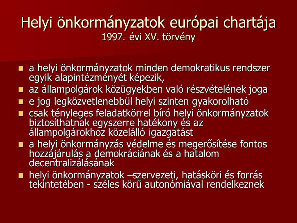 Helyi önkormányzatok európai chartája 1997. évi XV.