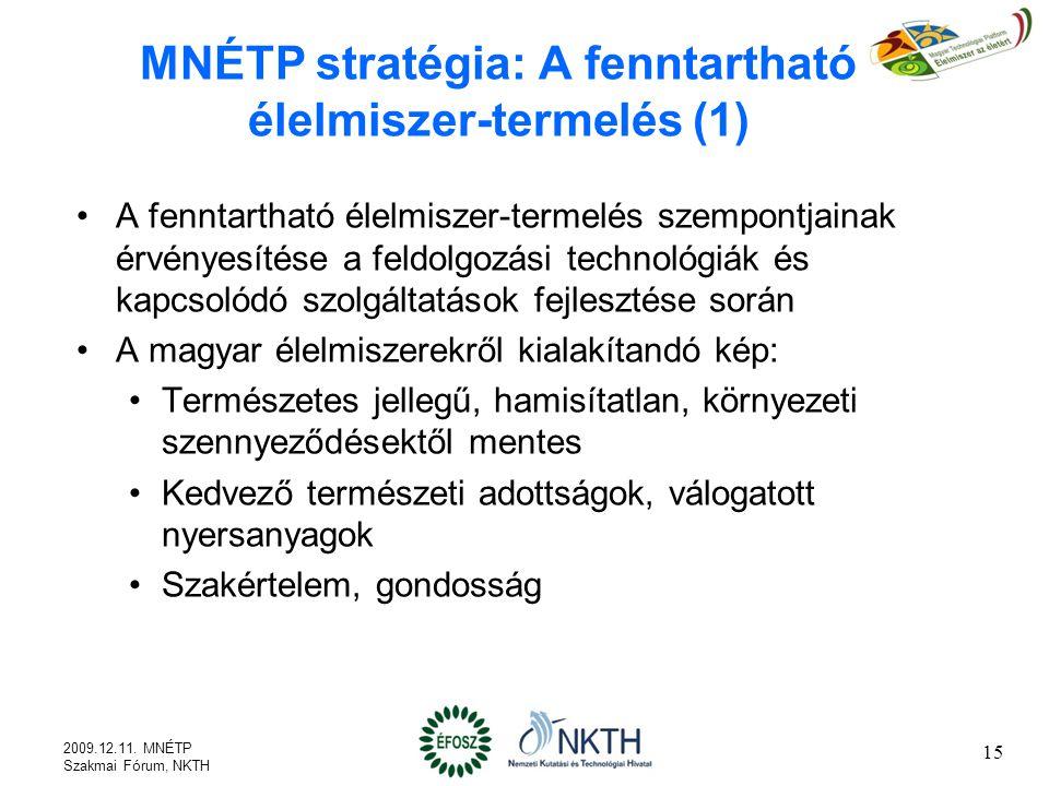 MNÉTP stratégia: A fenntartható élelmiszer-termelés (1) A fenntartható élelmiszer-termelés szempontjainak érvényesítése a feldolgozási technológiák és kapcsolódó szolgáltatások fejlesztése során A magyar élelmiszerekről kialakítandó kép: Természetes jellegű, hamisítatlan, környezeti szennyeződésektől mentes Kedvező természeti adottságok, válogatott nyersanyagok Szakértelem, gondosság 2009.12.11.