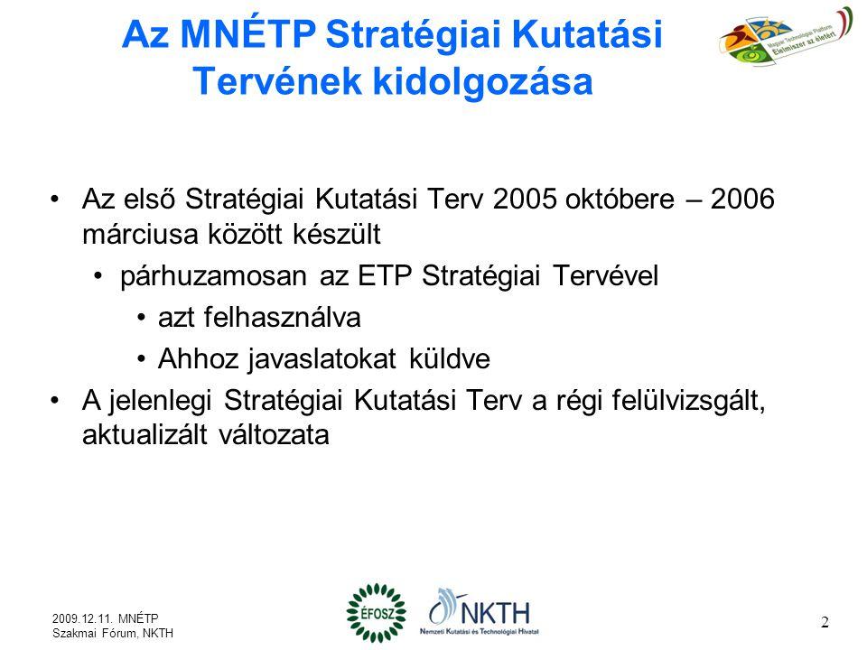 Az MNÉTP Stratégiai Kutatási Tervének kidolgozása Az első Stratégiai Kutatási Terv 2005 októbere – 2006 márciusa között készült párhuzamosan az ETP Stratégiai Tervével azt felhasználva Ahhoz javaslatokat küldve A jelenlegi Stratégiai Kutatási Terv a régi felülvizsgált, aktualizált változata 2 2009.12.11.