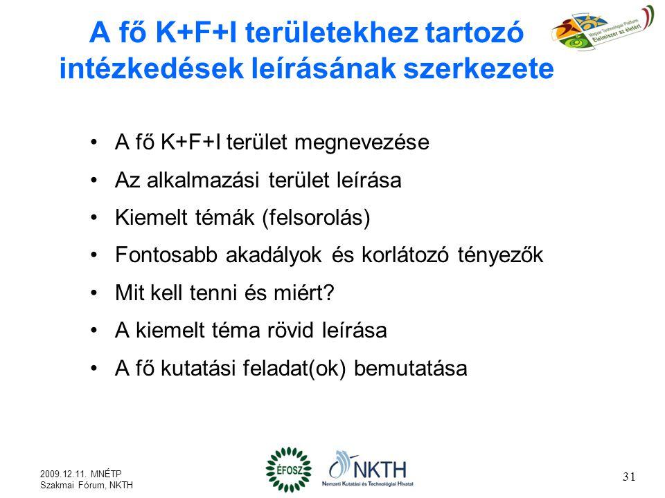 A fő K+F+I területekhez tartozó intézkedések leírásának szerkezete A fő K+F+I terület megnevezése Az alkalmazási terület leírása Kiemelt témák (felsorolás) Fontosabb akadályok és korlátozó tényezők Mit kell tenni és miért.