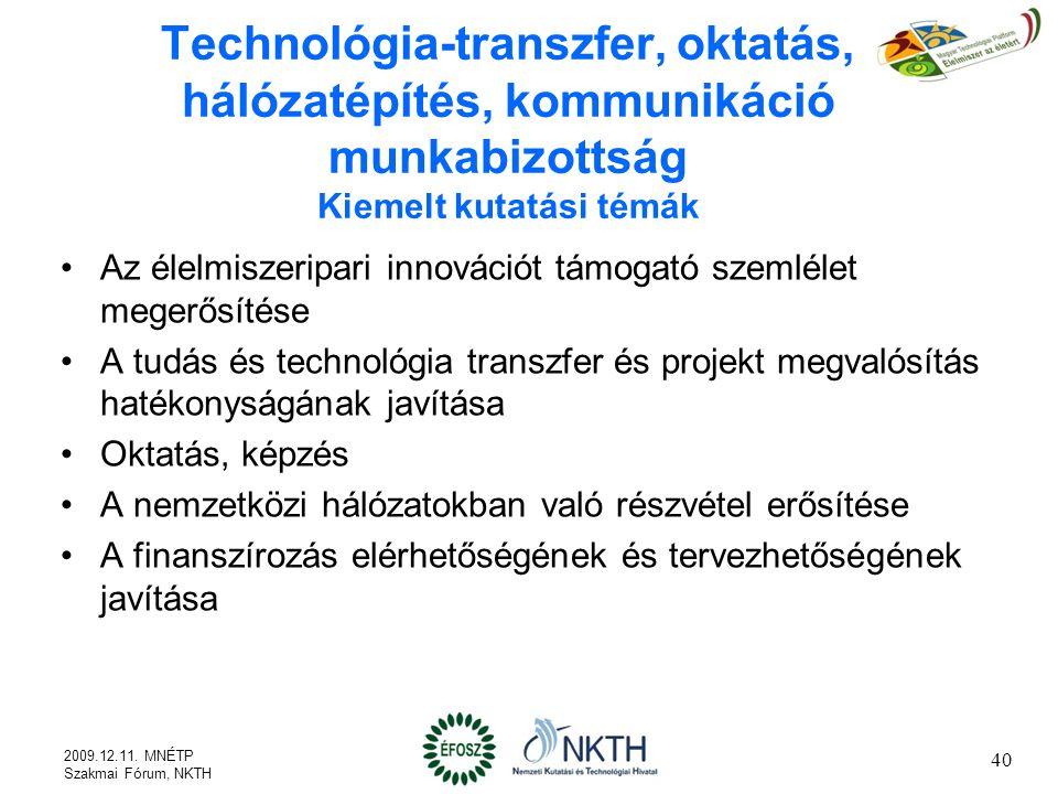 Technológia-transzfer, oktatás, hálózatépítés, kommunikáció munkabizottság Kiemelt kutatási témák Az élelmiszeripari innovációt támogató szemlélet megerősítése A tudás és technológia transzfer és projekt megvalósítás hatékonyságának javítása Oktatás, képzés A nemzetközi hálózatokban való részvétel erősítése A finanszírozás elérhetőségének és tervezhetőségének javítása 40 2009.12.11.
