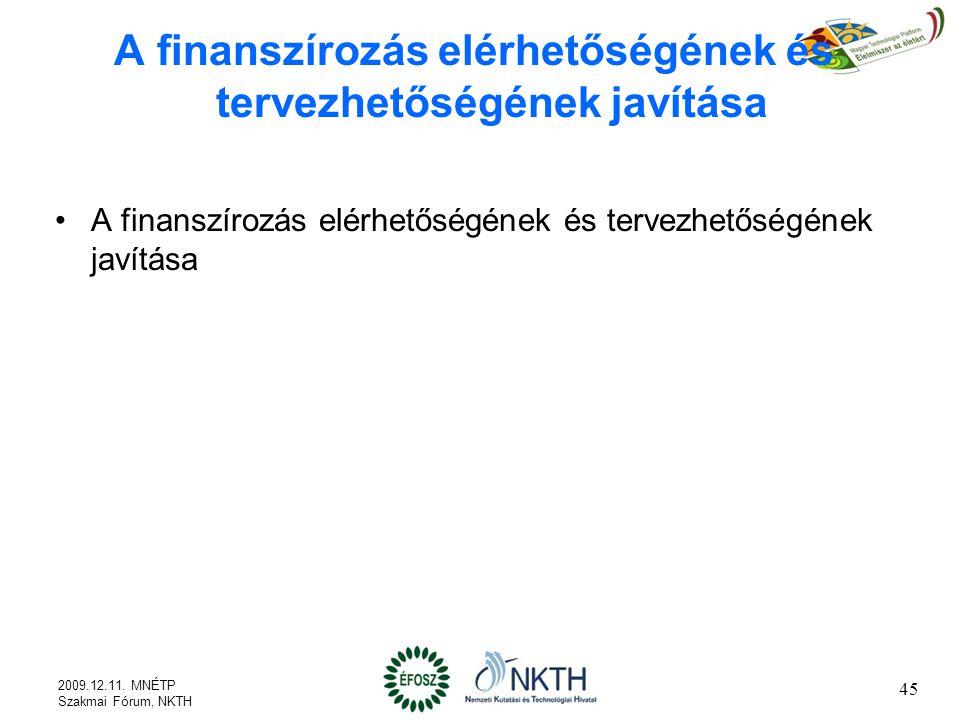 A finanszírozás elérhetőségének és tervezhetőségének javítása 45 2009.12.11.