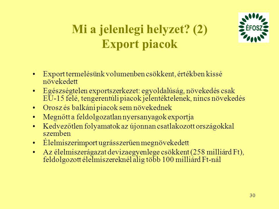 30 Mi a jelenlegi helyzet? (2) Export piacok Export termelésünk volumenben csökkent, értékben kissé növekedett Egészségtelen exportszerkezet: egyoldal