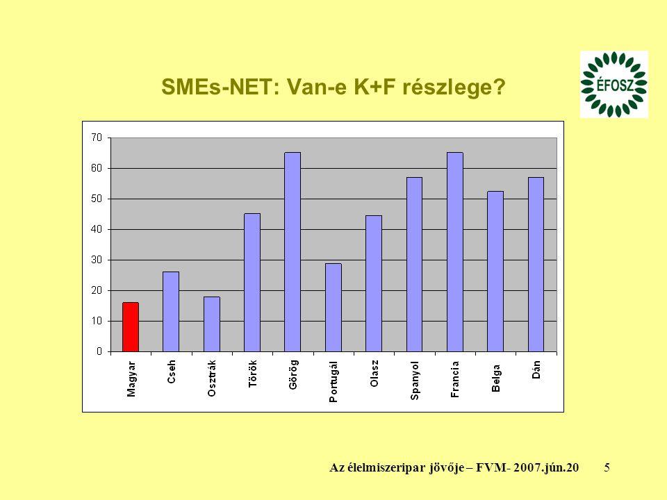 5Az élelmiszeripar jövője – FVM- 2007.jún.20 SMEs-NET: Van-e K+F részlege?