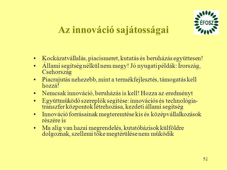 52 Az innováció sajátosságai Kockázatvállalás, piacismeret, kutatás és beruházás együttesen! Állami segítség nélkül nem megy! Jó nyugati példák: Írors