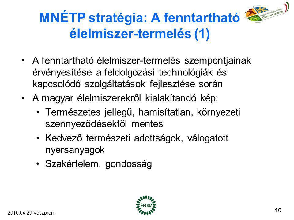 MNÉTP stratégia: A fenntartható élelmiszer-termelés (1) A fenntartható élelmiszer-termelés szempontjainak érvényesítése a feldolgozási technológiák és