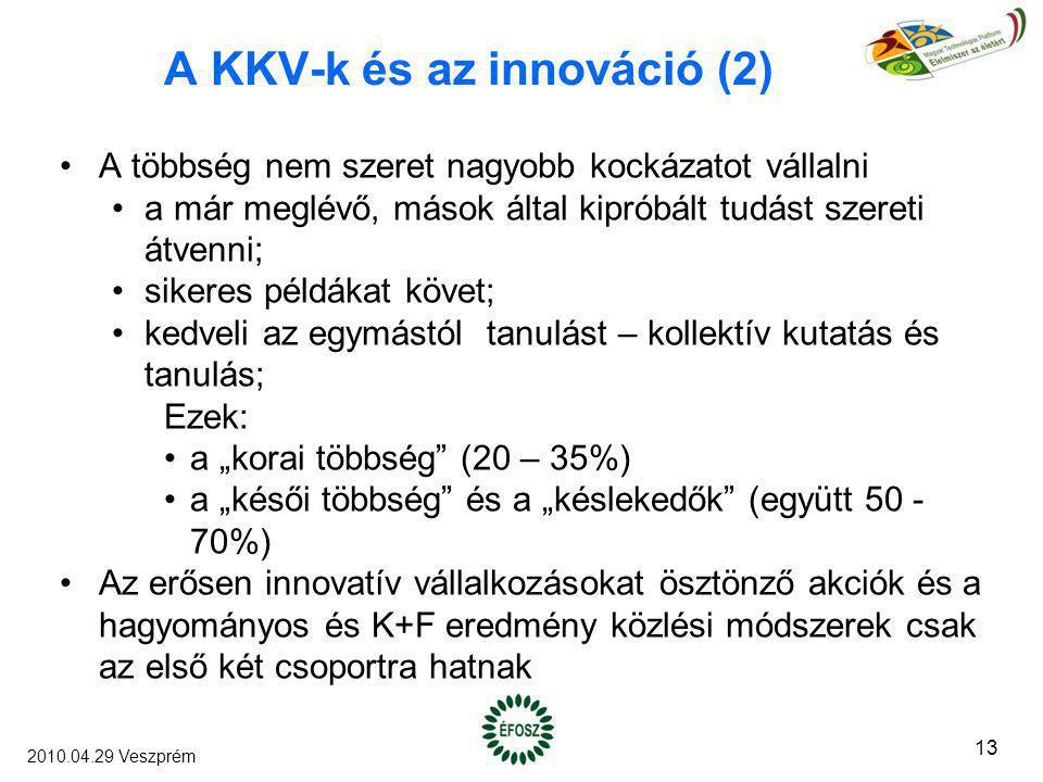 A KKV-k és az innováció (2) A többség nem szeret nagyobb kockázatot vállalni a már meglévő, mások által kipróbált tudást szereti átvenni; sikeres péld