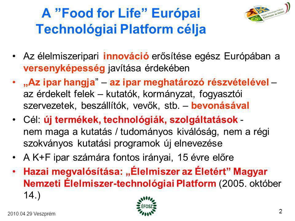 """A """"Food for Life"""" Európai Technológiai Platform célja Az élelmiszeripari innováció erősítése egész Európában a versenyképesség javítása érdekében """"Az"""