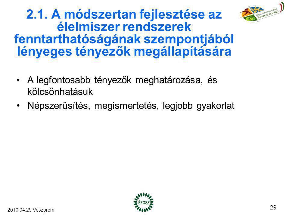 2.1. A módszertan fejlesztése az élelmiszer rendszerek fenntarthatóságának szempontjából lényeges tényezők megállapítására A legfontosabb tényezők meg