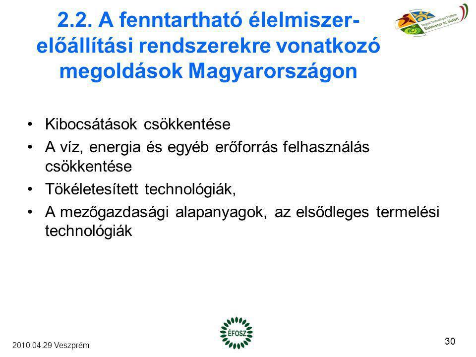 2.2. A fenntartható élelmiszer- előállítási rendszerekre vonatkozó megoldások Magyarországon Kibocsátások csökkentése A víz, energia és egyéb erőforrá