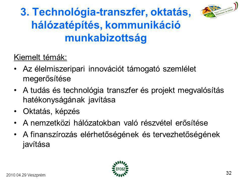3. Technológia-transzfer, oktatás, hálózatépítés, kommunikáció munkabizottság Kiemelt témák: Az élelmiszeripari innovációt támogató szemlélet megerősí