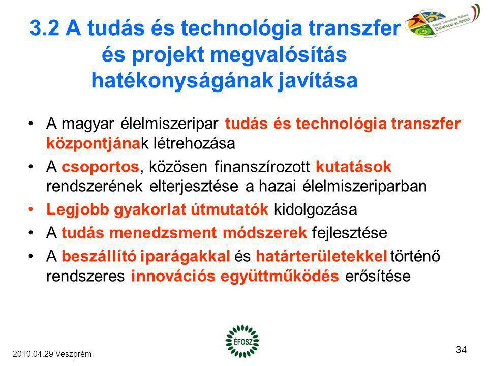 3.2 A tudás és technológia transzfer és projekt megvalósítás hatékonyságának javítása A magyar élelmiszeripar tudás és technológia transzfer központjá