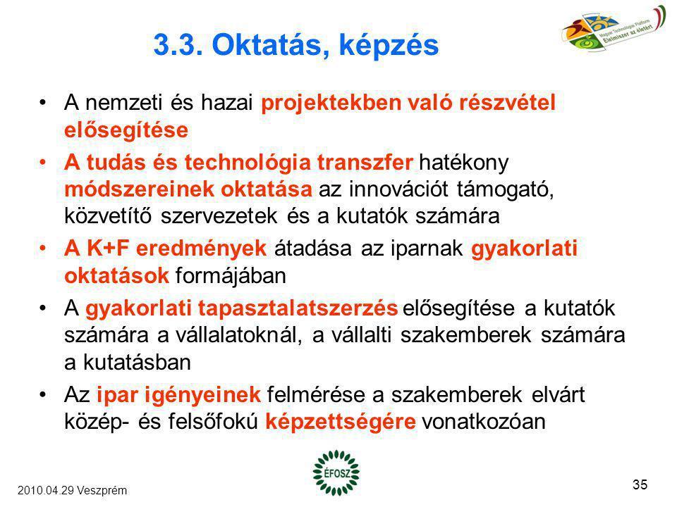 3.3. Oktatás, képzés A nemzeti és hazai projektekben való részvétel elősegítése A tudás és technológia transzfer hatékony módszereinek oktatása az inn
