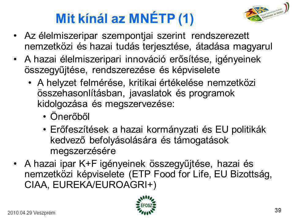 Mit kínál az MNÉTP (1) Az élelmiszeripar szempontjai szerint rendszerezett nemzetközi és hazai tudás terjesztése, átadása magyarul A hazai élelmiszeri