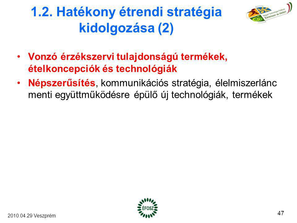 1.2. Hatékony étrendi stratégia kidolgozása (2) Vonzó érzékszervi tulajdonságú termékek, ételkoncepciók és technológiák Népszerűsítés, kommunikációs s