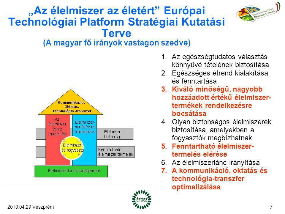 """""""Az élelmiszer az életért"""" Európai Technológiai Platform Stratégiai Kutatási Terve (A magyar fő irányok vastagon szedve) 1.Az egészségtudatos választá"""