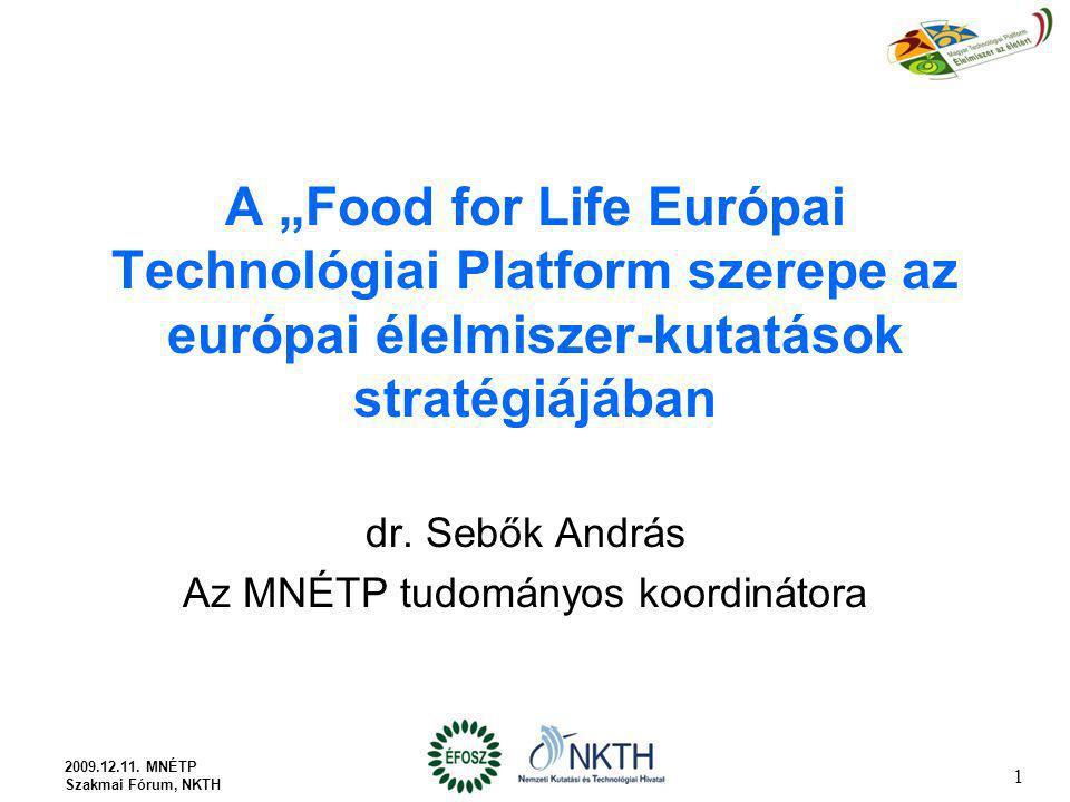 """A """"Food for Life Európai Technológiai Platform szerepe az európai élelmiszer-kutatások stratégiájában dr. Sebők András Az MNÉTP tudományos koordinátor"""