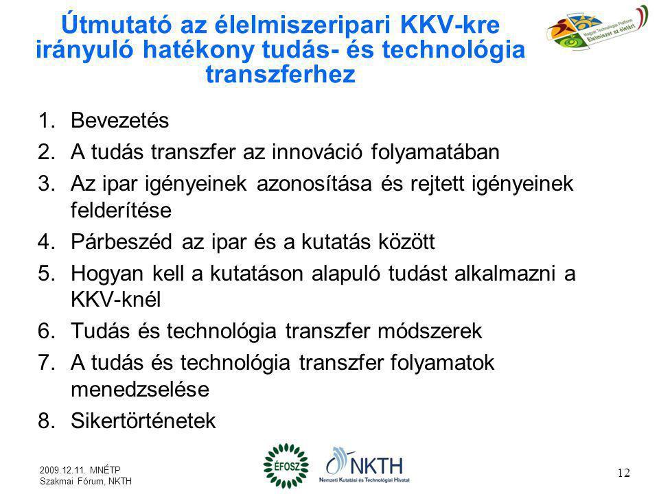 Útmutató az élelmiszeripari KKV-kre irányuló hatékony tudás- és technológia transzferhez 1.Bevezetés 2.A tudás transzfer az innováció folyamatában 3.A