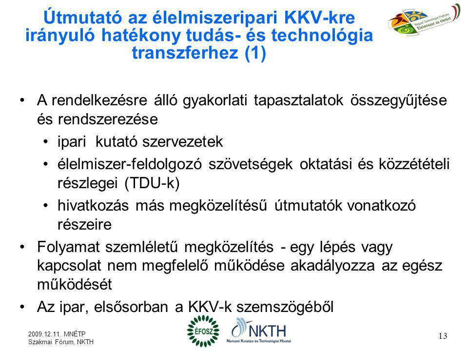 Útmutató az élelmiszeripari KKV-kre irányuló hatékony tudás- és technológia transzferhez (1) A rendelkezésre álló gyakorlati tapasztalatok összegyűjté