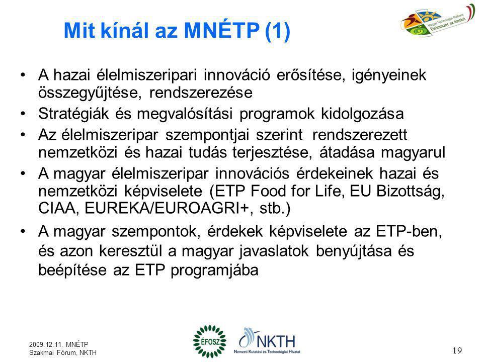 19 Mit kínál az MNÉTP (1) A hazai élelmiszeripari innováció erősítése, igényeinek összegyűjtése, rendszerezése Stratégiák és megvalósítási programok k