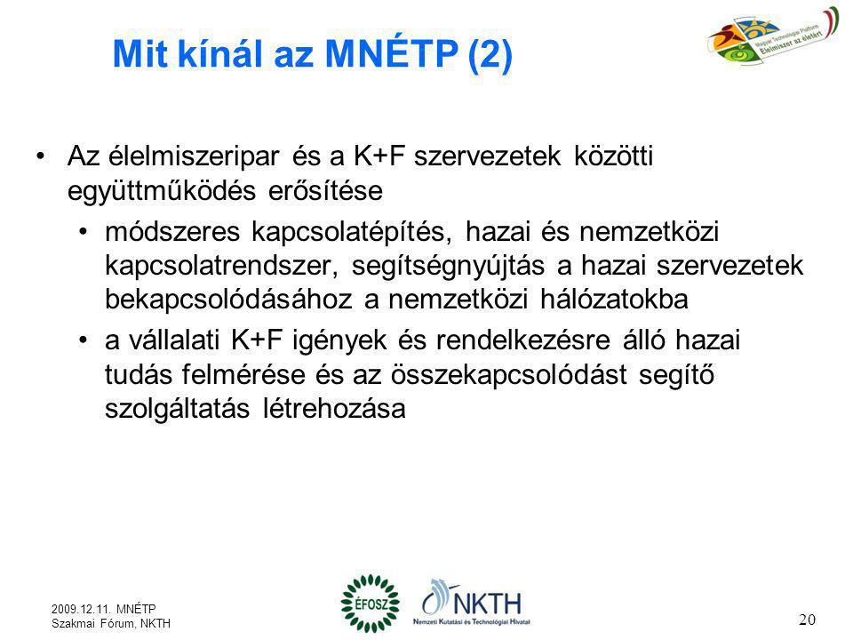 20 Mit kínál az MNÉTP (2) Az élelmiszeripar és a K+F szervezetek közötti együttműködés erősítése módszeres kapcsolatépítés, hazai és nemzetközi kapcso