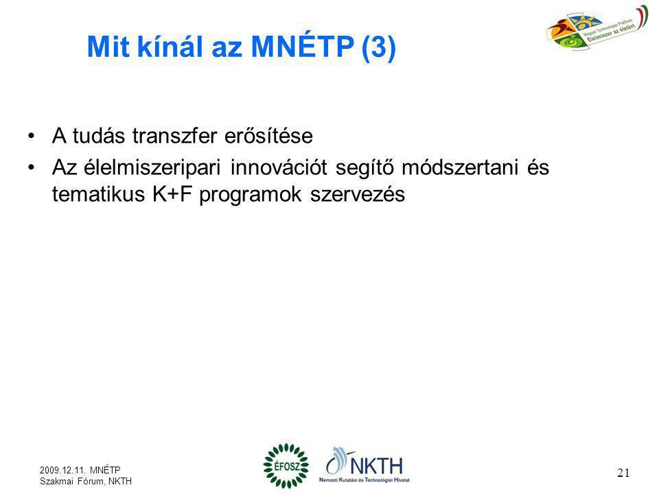 21 Mit kínál az MNÉTP (3) A tudás transzfer erősítése Az élelmiszeripari innovációt segítő módszertani és tematikus K+F programok szervezés 2009.12.11