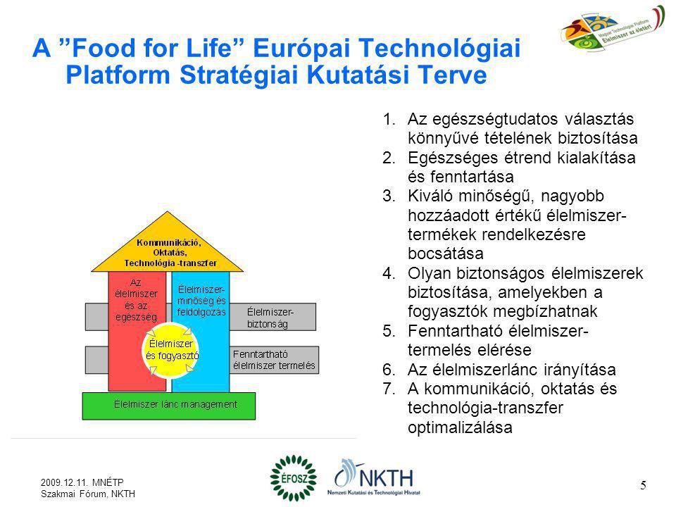 Az ETP Food for Life által kínált lehetőségek (1) Hozzáférés és hozzájárulási lehetőség az ipar és a többi érdekelt fél átfogó, széleskörű és rendszerezett közös tudásához Fontosabb piaci, fogyasztói, társadalmi változások, trendek A legfontosabb kihívások, melyekre megoldást kell találni Fő kutatási, fejlesztési és innovációs területek Fő kutatási célok A legfontosabb (kiemelt) kutatási témák és elérendő eredmények A fő kutatási feladatok fontossági sorrendbe rendszerezve, a szükséges erőforrásokkal 6 2009.12.11.