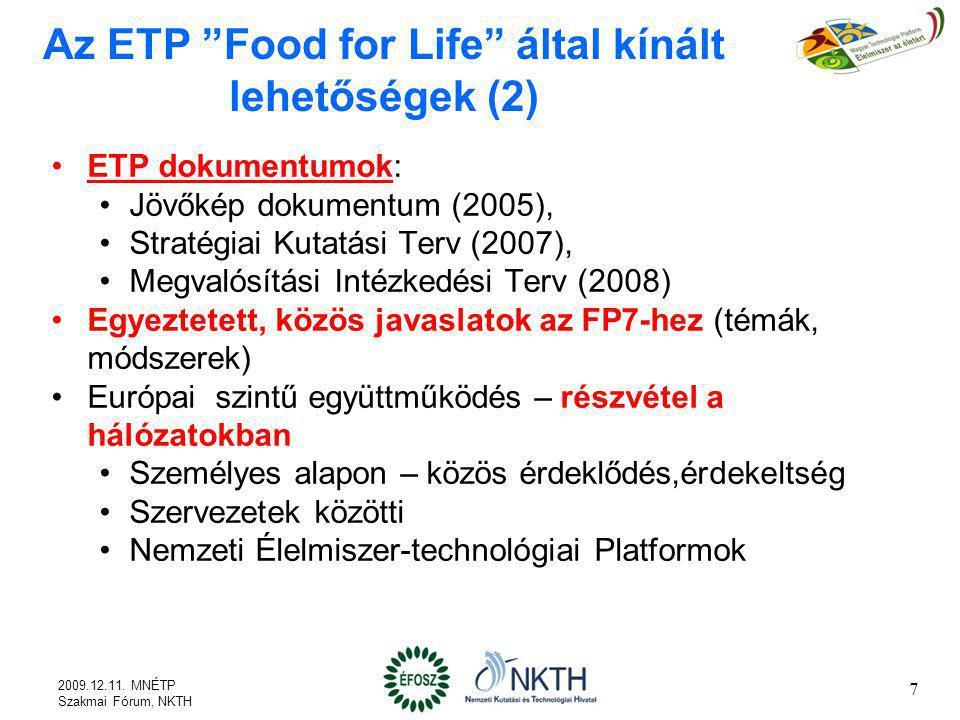 Az ETP Food for Life által kínált lehetőségek (3) A KKV-k kiemelt kezelése a nem nemzetközi nagy vállalatokat is ide kell számítani KKV munkacsoport (SME Task Force) Ajánlások kidolgozása (2007) a KKV-k innovációjának a K+F eredmények jobb hasznosulásának elősegítése a KKV-k, az ETP, az EU Bizottság, a kutatók és a közvetítő szervezetek számára (2007) a KKV szempontok érvényesítése az ETP programjaiban, projektjeiben 8 2009.12.11.