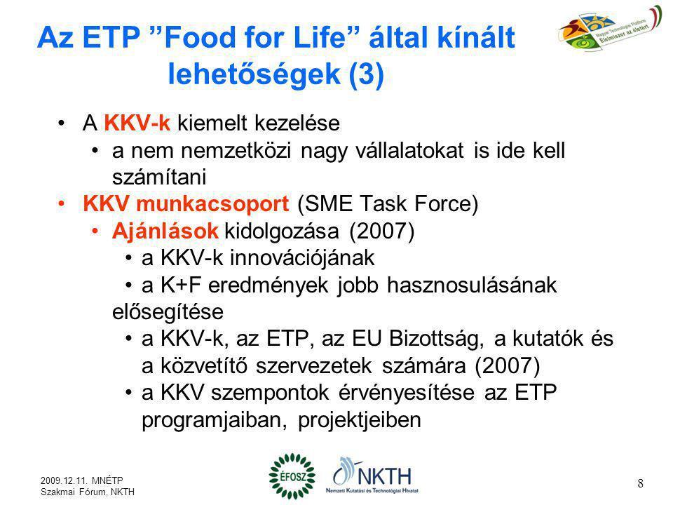19 Mit kínál az MNÉTP (1) A hazai élelmiszeripari innováció erősítése, igényeinek összegyűjtése, rendszerezése Stratégiák és megvalósítási programok kidolgozása Az élelmiszeripar szempontjai szerint rendszerezett nemzetközi és hazai tudás terjesztése, átadása magyarul A magyar élelmiszeripar innovációs érdekeinek hazai és nemzetközi képviselete (ETP Food for Life, EU Bizottság, CIAA, EUREKA/EUROAGRI+, stb.) A magyar szempontok, érdekek képviselete az ETP-ben, és azon keresztül a magyar javaslatok benyújtása és beépítése az ETP programjába 2009.12.11.