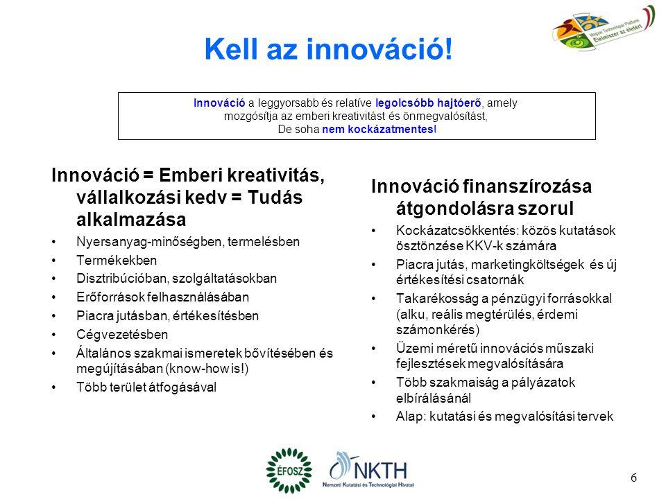 6 Kell az innováció! Innováció finanszírozása átgondolásra szorul Kockázatcsökkentés: közös kutatások ösztönzése KKV-k számára Piacra jutás, marketing