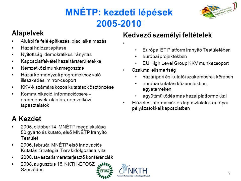 8 MNÉTP: további lépések (1) 2008-2009 Pályázat megvalósítása Helyzetelemző tanulmányok készítése 2009.