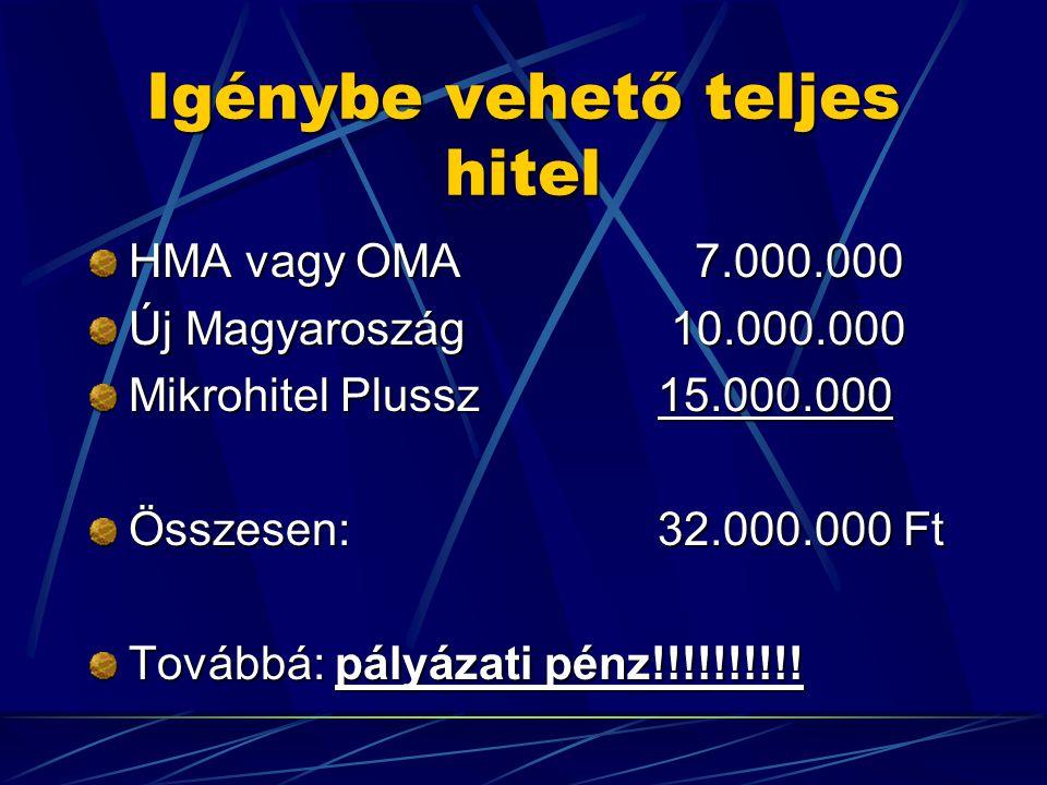 Igénybe vehető teljes hitel HMA vagy OMA 7.000.000 Új Magyaroszág 10.000.000 Mikrohitel Plussz 15.000.000 Összesen: 32.000.000 Ft Továbbá: pályázati pénz!!!!!!!!!!