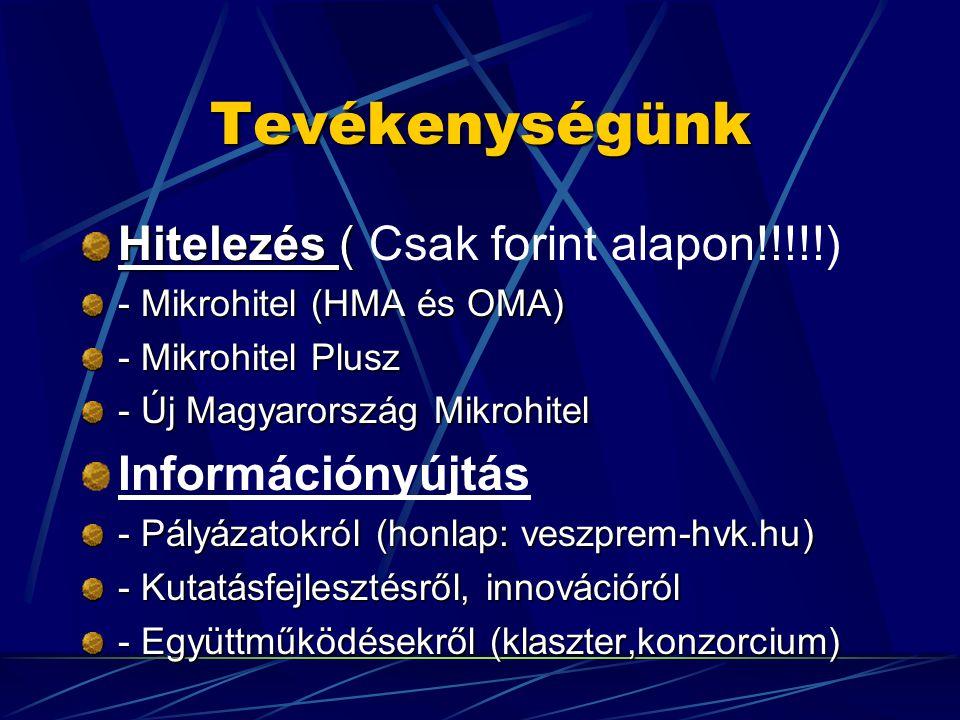 Tevékenységünk Hitelezés ( Hitelezés ( Csak forint alapon!!!!!) - Mikrohitel (HMA és OMA) - Mikrohitel Plusz - Új Magyarország Mikrohitel Információnyújtás - Pályázatokról (honlap: veszprem-hvk.hu) - Kutatásfejlesztésről, innovációról - Együttműködésekről (klaszter,konzorcium)