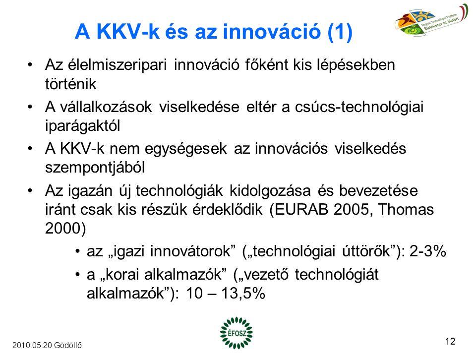 """A KKV-k és az innováció (1) Az élelmiszeripari innováció főként kis lépésekben történik A vállalkozások viselkedése eltér a csúcs-technológiai iparágaktól A KKV-k nem egységesek az innovációs viselkedés szempontjából Az igazán új technológiák kidolgozása és bevezetése iránt csak kis részük érdeklődik (EURAB 2005, Thomas 2000) az """"igazi innovátorok (""""technológiai úttörők ): 2-3% a """"korai alkalmazók (""""vezető technológiát alkalmazók ): 10 – 13,5% 12 2010.05.20 Gödöllő"""