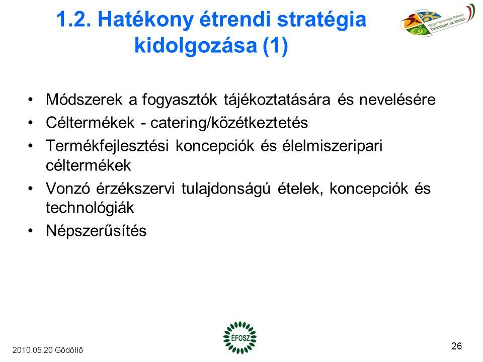 1.2. Hatékony étrendi stratégia kidolgozása (1) Módszerek a fogyasztók tájékoztatására és nevelésére Céltermékek - catering/közétkeztetés Termékfejles