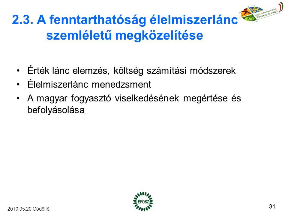 2.3. A fenntarthatóság élelmiszerlánc szemléletű megközelítése Érték lánc elemzés, költség számítási módszerek Élelmiszerlánc menedzsment A magyar fog