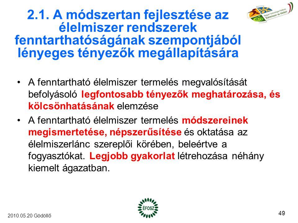 2.1. A módszertan fejlesztése az élelmiszer rendszerek fenntarthatóságának szempontjából lényeges tényezők megállapítására A fenntartható élelmiszer t