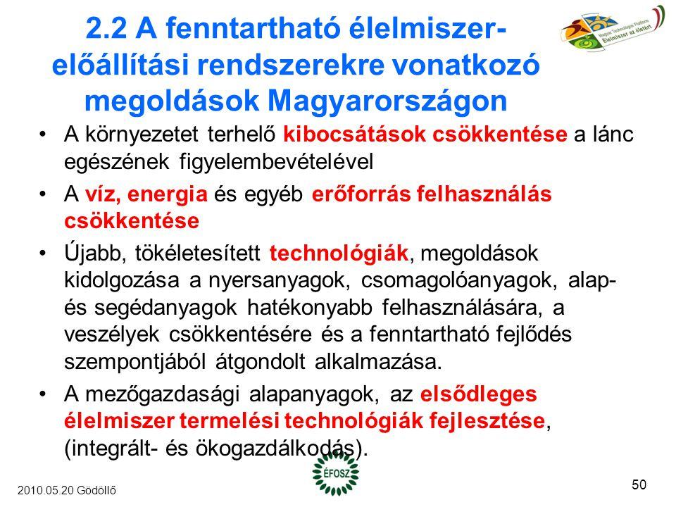 2.2 A fenntartható élelmiszer- előállítási rendszerekre vonatkozó megoldások Magyarországon A környezetet terhelő kibocsátások csökkentése a lánc egészének figyelembevételével A víz, energia és egyéb erőforrás felhasználás csökkentése Újabb, tökéletesített technológiák, megoldások kidolgozása a nyersanyagok, csomagolóanyagok, alap- és segédanyagok hatékonyabb felhasználására, a veszélyek csökkentésére és a fenntartható fejlődés szempontjából átgondolt alkalmazása.