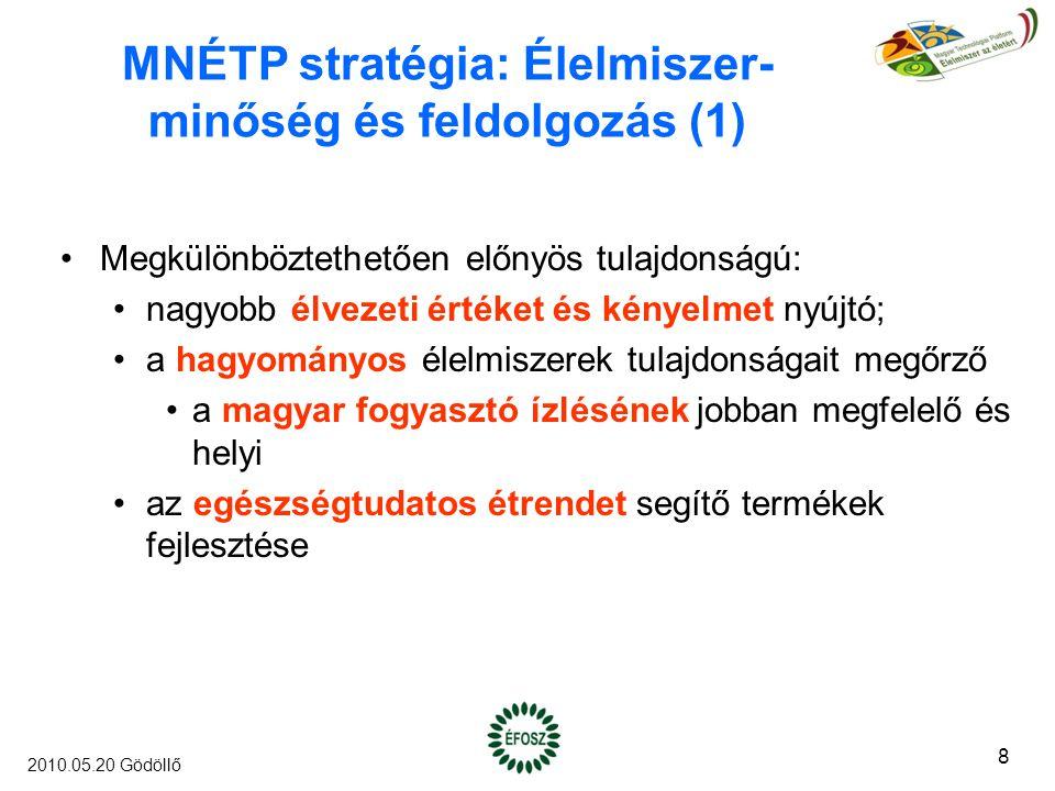 MNÉTP stratégia: Élelmiszer- minőség és feldolgozás (1) Megkülönböztethetően előnyös tulajdonságú: nagyobb élvezeti értéket és kényelmet nyújtó; a hagyományos élelmiszerek tulajdonságait megőrző a magyar fogyasztó ízlésének jobban megfelelő és helyi az egészségtudatos étrendet segítő termékek fejlesztése 8 2010.05.20 Gödöllő