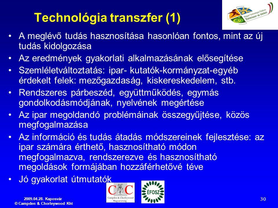 2009.04.28. Kaposvár © Campden & Chorleywood Kht 30 Technológia transzfer (1) A meglévő tudás hasznosítása hasonlóan fontos, mint az új tudás kidolgoz