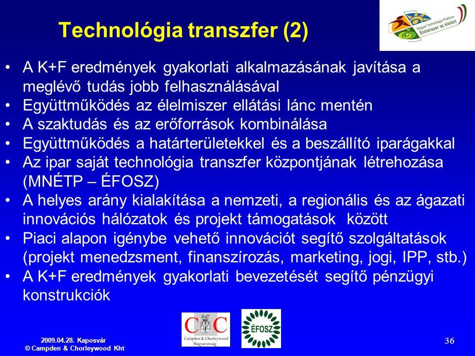 2009.04.28. Kaposvár © Campden & Chorleywood Kht 36 Technológia transzfer (2) A K+F eredmények gyakorlati alkalmazásának javítása a meglévő tudás jobb