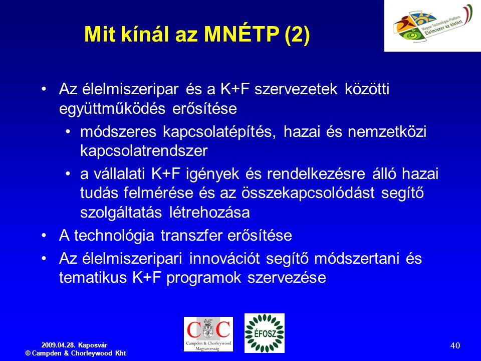 2009.04.28. Kaposvár © Campden & Chorleywood Kht 40 Mit kínál az MNÉTP (2) Az élelmiszeripar és a K+F szervezetek közötti együttműködés erősítése móds