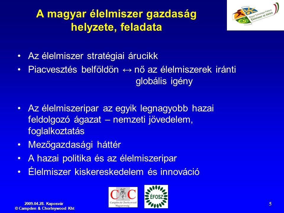 2009.04.28. Kaposvár © Campden & Chorleywood Kht 5 A magyar élelmiszer gazdaság helyzete, feladata Az élelmiszer stratégiai árucikk Piacvesztés belföl