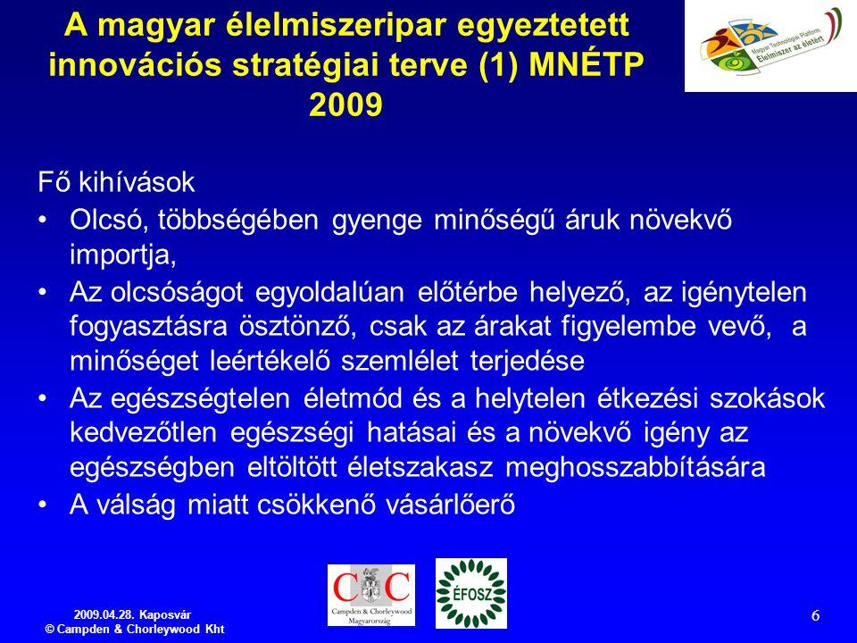 2009.04.28. Kaposvár © Campden & Chorleywood Kht 6 A magyar élelmiszeripar egyeztetett innovációs stratégiai terve (1) MNÉTP 2009 Fő kihívások Olcsó,